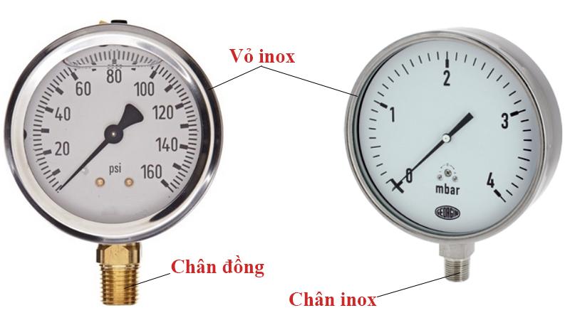 đồng hồ áp suất inox
