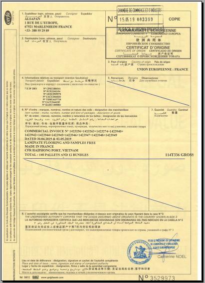 giấy chứng nhận xuất xứ CO