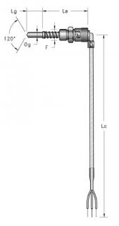 Cảm biến nhiệt độ Pt100 dạng dây tùy biến góc xoay