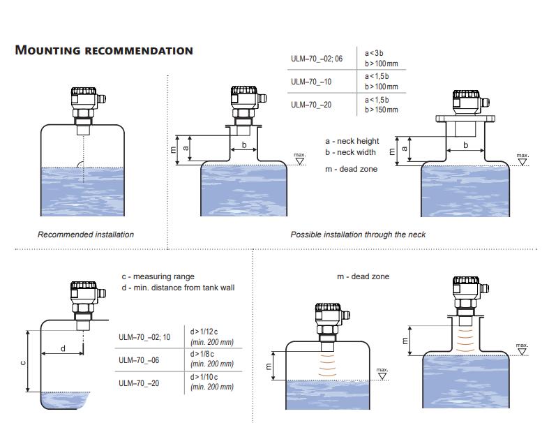 Lưu ý khi lắp đặt cảm biến siêu âm đo mức có hiển thị Dinel ULM-70