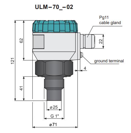 Cấu tạo cảm biến siêu âm đo mức nước