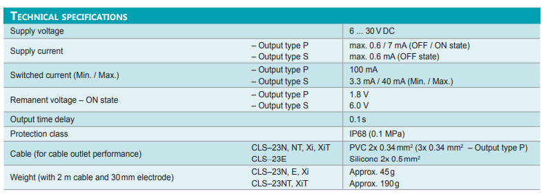 Thông số kỹ thuật cảm biến đo mức on/off