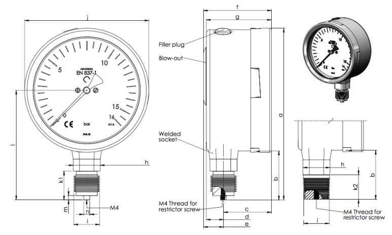 Thông số của đồng hồ áp suất chân không