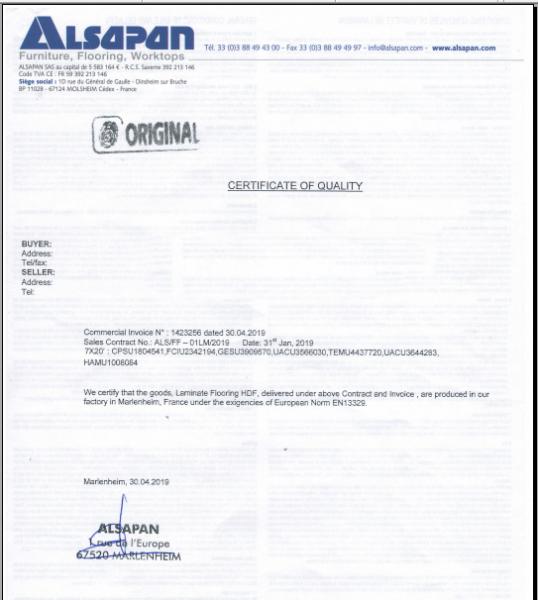 giấy chứng nhận chất lượng C/Q