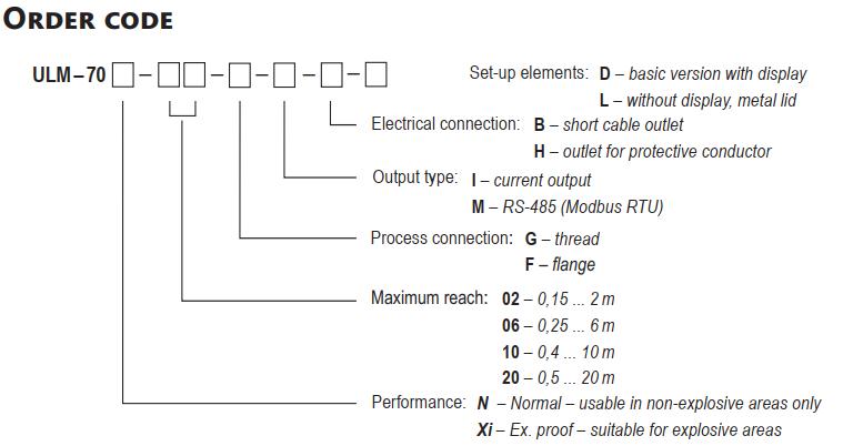 chọn code cảm biến siêu âm có hiển thị Dinel ULM-70